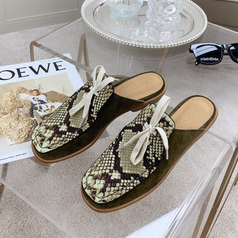 Loewe Lace Up Mule Women Suede and Calfskin In Python