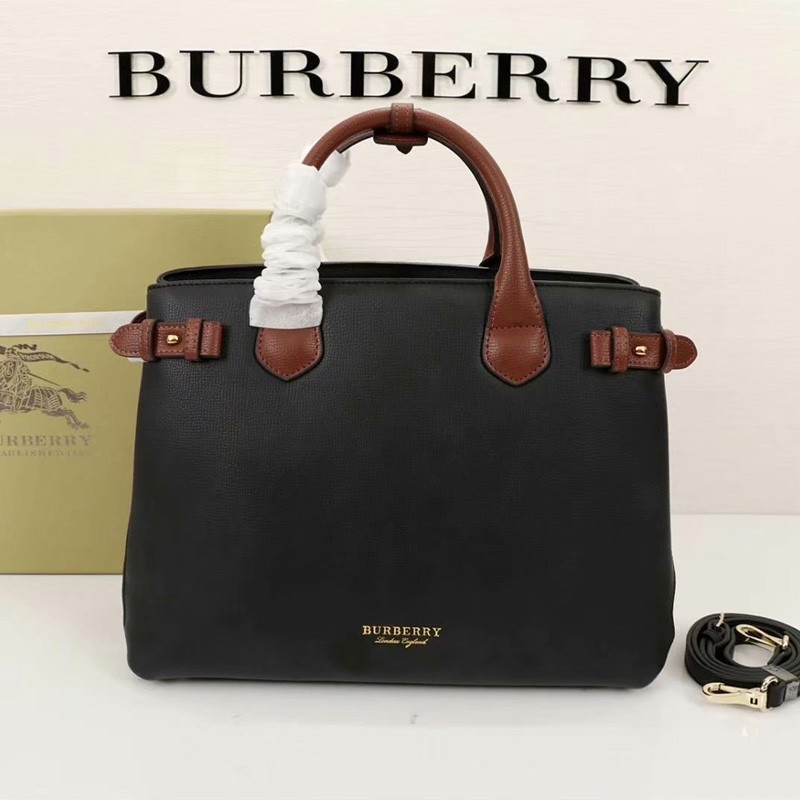 Burberry Medium Leather And Canvas Banner Bag In Black/Brown